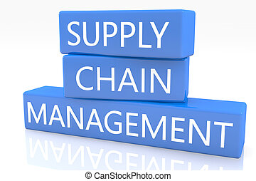 Supply Chain Management - 3d render blue box with text...