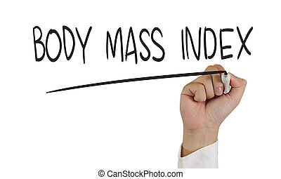 Body Mass Index - Health concept image of a hand holding...