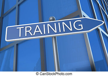Training - illustration with street sign in front of office...