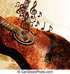 Grunge music background with guitar