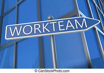 Workteam - illustration with street sign in front of office...