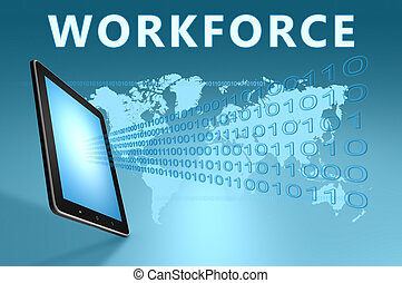 Workforce illustration with tablet computer on blue...