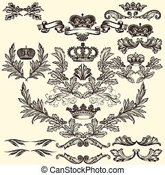 Collection of vector frames with cr - Collection of heraldic...
