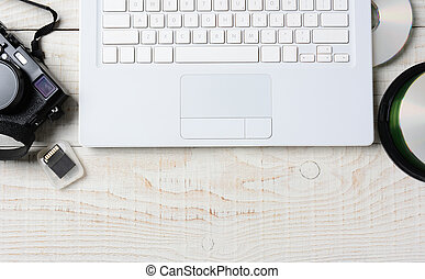 Digital Photography Workspace - High angle shot of a digital...