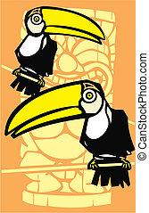 Two Toucans and Tiki - Tropical toucan birds with retro tiki...