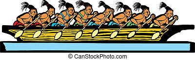 Mayan Canoe - Mayan canoe done in temple mural style