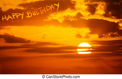 Feliz, aniversário, escrito, em, pôr do sol,