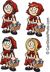 Little Red Riding Hood with four different hairstyles Vector...
