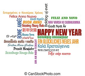 Happy New Year in different language. Words cloud on white...