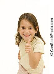 girl giving ok - happy young girl giving ok