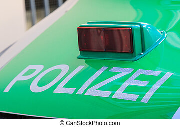 Polizei / police sign on a hood - Polizei / police sign on a...