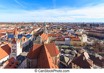 """Munich cityscape seen from """"Alter Peter"""", the tower of St...."""