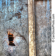 close up of a broken window in hdr