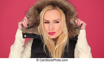 Pretty Woman in Fashion with Furry Hood - Pretty White Woman...