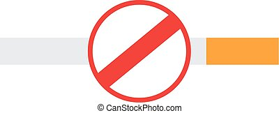 No smoking sign on a cigarette, isolated on white background...