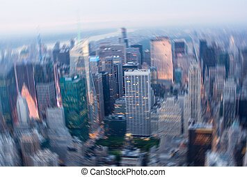 Motion blurred picture of Midtown Manhattan from high...