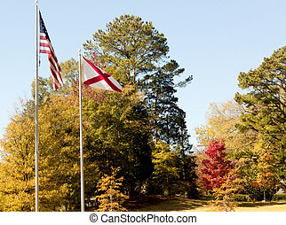 American Flag in Autumn - An American flag and a confederate...
