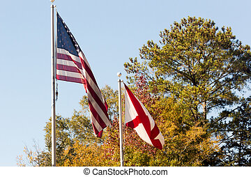 Flags in Fall 3219 - An American Flag and an Confederate...