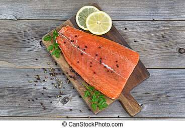 Salmon Fillet seasoned and ready for cooking - Top view...