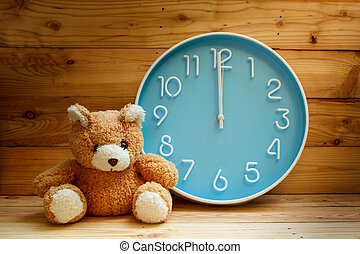 Large clock face on wood background - large clock blue face...