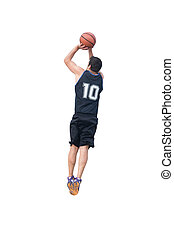 basketball player making a jump shot on white background