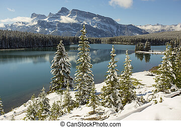 Two Jack Lake, Banff National Park - Two Jack Lake and Mount...
