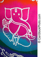 Colorful Ganesha Rangoli - A background with a view of an...