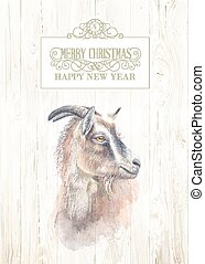 New year goat - New year painting goat with horns,...