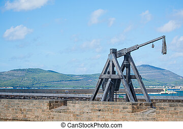 catapult by the shore - antique catapult by Alghero...