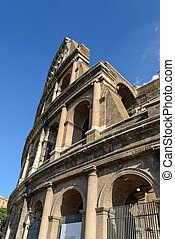 Colosseum in Rome Italy with Blue Sky
