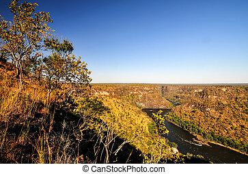 Zambezi River Gorge landscape between Zambia and Zimbabwe...