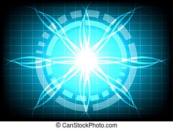 abstract circle blue light ray effect technology - circle...