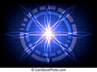 abstract circle on dark blue light ray effect technology -...