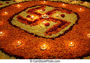 Swastika of Flowers - A background with a view of earthen...