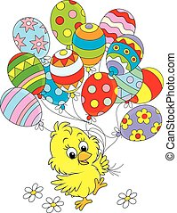 Easter Chick - Little yellow chicken walking with colorful...