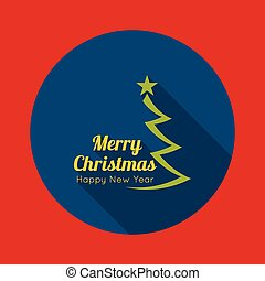 Merry Christmas, Happy new year with Christmas tree and a...
