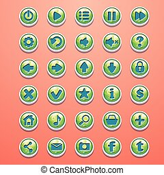 Big set of round buttons cartoon green for the game interface