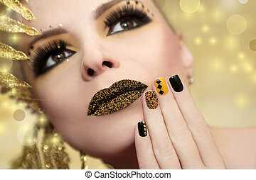 Caviar manicure and lips.