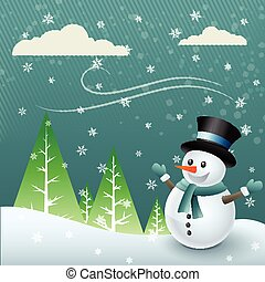 snowman cartoon illustration of christmas festival