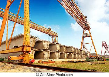 Construction Site - Precast concrete construction site,...