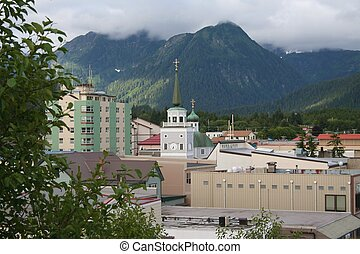Sitka Alaska - View of downtown Sitka Alaska from historic...