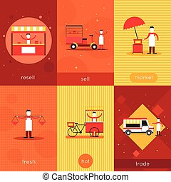 Street food mini poster set