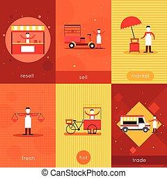 Street food mini poster set