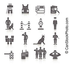 Border Guard Icon Set - Border guard icon black set with...