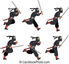 Cartoon Ninja Sprite - Ninja Running Game Sprite