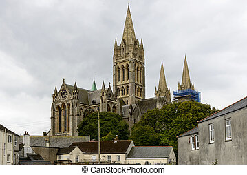Cathedral view, Truro - cityscape with the massive building...