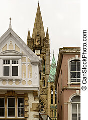 old buildings and Minster tower, Truro - foreshortening of...
