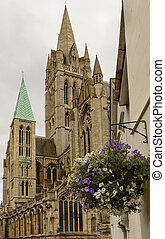 Cathedral and flowers, Truro - foreshortening ancient...