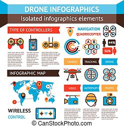 Drone Inforagraphic Set - Drone inforagraphic set with...