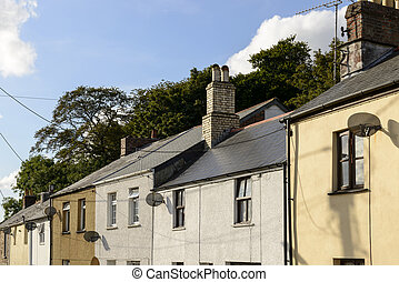 satellite dishes on old houses,  Bodmin , Cornwall